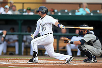 Lakeland Flying Tigers second baseman Brandon Loy (10) during a game against the Brevard County Manatees on April 10, 2014 at Joker Marchant Stadium in Lakeland, Florida.  Lakeland defeated Brevard County 6-5.  (Mike Janes/Four Seam Images)