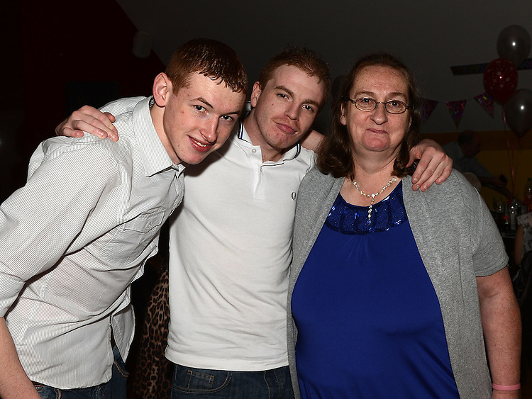 Kyle Flood, Brian O'Connor and Mary O'Connor pictured at Eimear O'Connor's 18th birthday in the Thatch. Photo:Colin Bell/pressphotos.ie