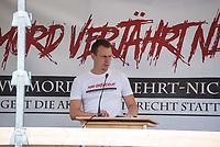 """Ueber 1.000 Rechtsextreme aus mehreren Bundeslaendern demonstrieren am Samstag den 19. August 2017 in Berlin zum Gedenken an den Hitler-Stellvertreter Rudolf Hess.<br /> Rudolf Hess hatte am 17. August 1987 im Alliierten Kriegsverbrechergefaengnis in Berlin Spandau Selbstmord begangen. Seitdem marschieren Rechtsextremisten am Wochenende nach dem Todestag mit sog. """"Hess-Maerschen"""".<br /> Weit ueber 1.000 Menschen protestierten gegen den Aufmarsch der Rechtsextremisten und stoppten den Hess-Marsch nach 300 Metern u.a. mit Sitzblockaden. Der rechtsextreme Aufmarsch wurde daraufhin von der Polizei umgeleitet.<br /> Aus dem Aufmarsch wurden mehrfach Gegendemonstranten angegriffen, mindestens ein Neonazi wurde festgenommen.<br /> Im Bild: Der Anmelder des Hess-Marsch Christian Haeger. Haeger ist Vorsitzender des NPD-Kreisverbandes Mittelrhein und war eine zentrale Figur des ehemaligen """"Aktionsbuero Mittelrhein"""". Er war zusammen mit weiteren  Neonazis wegen Bildung einer kriminellen Vereinigung angeklagt.<br /> 19.8.2017, Berlin<br /> Copyright: Christian-Ditsch.de<br /> [Inhaltsveraendernde Manipulation des Fotos nur nach ausdruecklicher Genehmigung des Fotografen. Vereinbarungen ueber Abtretung von Persoenlichkeitsrechten/Model Release der abgebildeten Person/Personen liegen nicht vor. NO MODEL RELEASE! Nur fuer Redaktionelle Zwecke. Don't publish without copyright Christian-Ditsch.de, Veroeffentlichung nur mit Fotografennennung, sowie gegen Honorar, MwSt. und Beleg. Konto: I N G - D i B a, IBAN DE58500105175400192269, BIC INGDDEFFXXX, Kontakt: post@christian-ditsch.de<br /> Bei der Bearbeitung der Dateiinformationen darf die Urheberkennzeichnung in den EXIF- und  IPTC-Daten nicht entfernt werden, diese sind in digitalen Medien nach §95c UrhG rechtlich geschuetzt. Der Urhebervermerk wird gemaess §13 UrhG verlangt.]"""