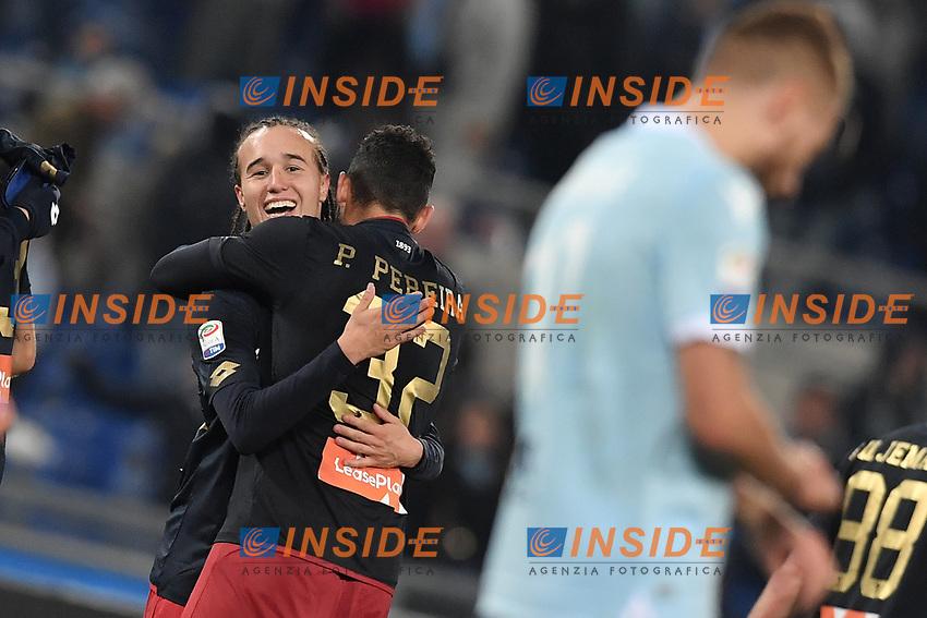 Esultanza dopo  il gol di Diego Laxalt Genoa. Goal celebration.<br /> Roma 05-02-2018  Stadio Olimpico<br /> Campionato Serie A, <br /> Lazio - Genoa<br /> Foto Antonietta Baldassarre / Insidefoto
