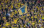 Solna 2015-11-14 Fotboll EM-kval , Sverige - Danmark :  <br /> Sveriges supportrar med en flagga under matchen mellan Sverige och Danmark <br /> (Photo: Kenta J&ouml;nsson) Keywords:  Sweden Sverige Solna Stockholm Friends Arena EM Kval EM-kval UEFA Euro European 2016 Qualifying Qualifier Playoff Denmark Danmark supporter fans publik supporters