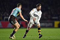 Danny Cipriani of Wasps looks to pass the ball. European Rugby Champions Cup match, between Harlequins and Wasps on January 13, 2018 at the Twickenham Stoop in London, England. Photo by: Patrick Khachfe / JMP