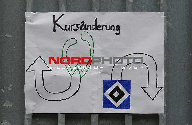 22.09.2013, Trainingsgelaende, Bremen, GER, 1.FBL, Training Werder Bremen, im Bild Plakat am Stadiontor<br /> <br /> Foto &copy; nph / Frisch