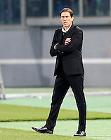 Calcio, Europa League: Ritorno degli ottavi di finale Roma vs Fiorentina. Roma, stadio Olimpico, 19 marzo 2015.<br /> Roma's coach Rudi Garcia reacts during the Europa League round of 16 second leg football match between Roma and Fiorentina at Rome's Olympic stadium, 19 March 2015.<br /> UPDATE IMAGES PRESS/Riccardo De Luca
