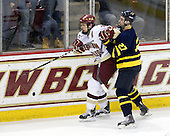 Matt Lombardi (BC - 24), Jesse Todd (Merrimack - 27) - The Boston College Eagles defeated the Merrimack College Warriors 7-0 on Tuesday, February 23, 2010 at Conte Forum in Chestnut Hill, Massachusetts.