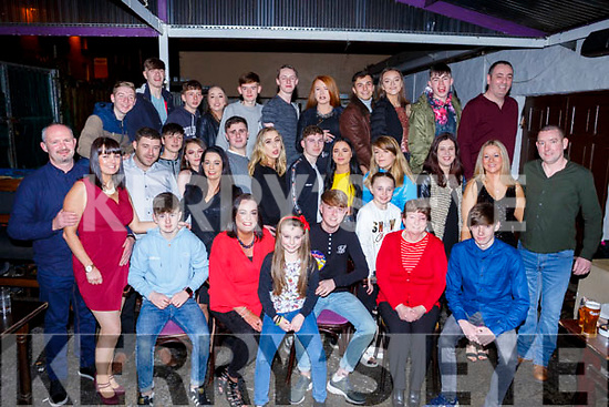 Dale Houlihan front centre celebrates his 18th Birthday in the Greyhound Bar with his family and friends on Friday night last.