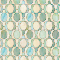 Janus Petite, a waterjet jewel glass mosaic, shown in Aquamarine and Quartz jewel glass, is part of the Illusions™ Collection by Sara Baldwin Designs for New Ravenna.