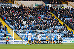 Simeon Akinola of Barnet scores from the penalty spot, 0-1. Stockport County v Barnet, 07032020. Edgeley Park, National League. Photo by Paul Thompson.