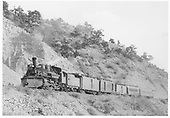 D&amp;RGW #472 with the new Shavano passenger train starting up Marshall Pass near Mears Junction.   There are three head-end cars and two for passengers.<br /> D&amp;RGW  Mears Junction, CO  Taken by Kindig, Richard H. - 5/16/1937
