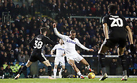 Leeds United's Kemar Roofe shoots despite the attentions of Reading's Liam Kelly<br /> <br /> Photographer Rich Linley/CameraSport<br /> <br /> The EFL Sky Bet Championship - Leeds United v Reading - Tuesday 27th November 2018 - Elland Road - Leeds<br /> <br /> World Copyright &copy; 2018 CameraSport. All rights reserved. 43 Linden Ave. Countesthorpe. Leicester. England. LE8 5PG - Tel: +44 (0) 116 277 4147 - admin@camerasport.com - www.camerasport.com