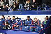 Saido Berahino of West Bromwich Albion on the end of the bench before the Barclays Premier League match between West Bromwich Albion and Swansea City at The Hawthorns on the 2nd of February 2016