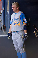 Eric Campbell (24) of the Myrtle Beach Pelicans waits for his turn to bat at Harry Grove Stadium in Frederick, MD, Monday July 14, 2008. (Photo by Brian Westerholt / Four Seam Images)