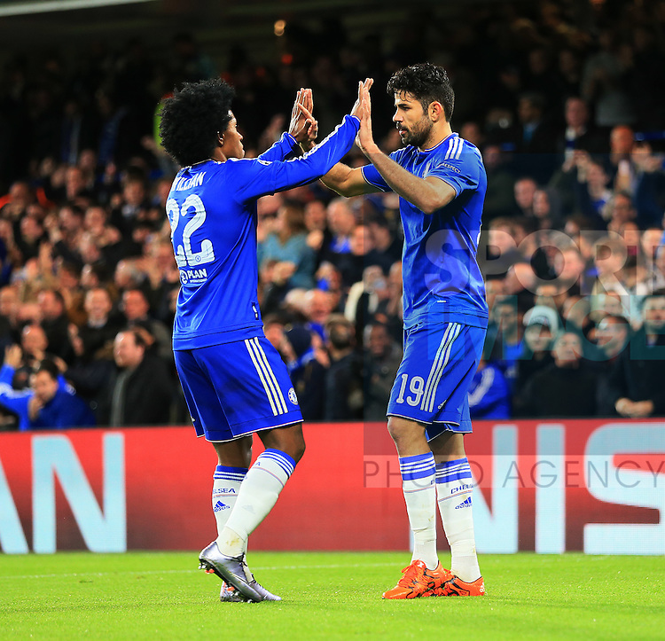 Chelsea's Diego Costa celebrates his sides opening goal<br /> <br /> UEFA Champions League - Chelsea v FC Porto - Stamford Bridge - England - 9th December 2015 - Picture David Klein/Sportimage