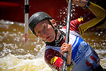 June 4, 2016 - Lyons, Colorado, U.S. -  Kayaker, Spencer Huff, eyes a downstream gate during slalom action on the South Saint Vrain River at the Lyons Outdoor Games, Lyons, Colorado.