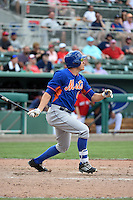 New York Mets outfielder Matt den Dekker (6) during a Spring Training game against the Boston Red Sox on March 16, 2015 at JetBlue Park at Fenway South in Fort Myers, Florida.  Boston defeated New York 4-3.  (Mike Janes/Four Seam Images)