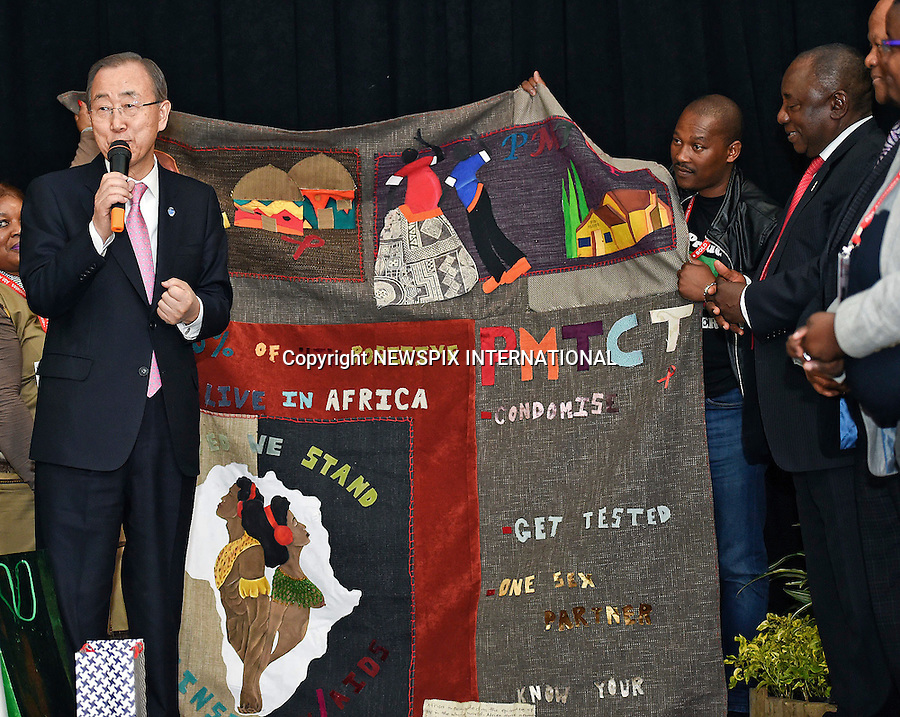 18.07.2016; Durban, South Africa: UN SECRETARY-GENERAL BAN-KI MOON<br /> attends the 21st International AIDS Conference in Durban.<br /> Mandatory Credit Photo: &copy;GCIS/NEWSPIX INTERNATIONAL<br /> <br /> IMMEDIATE CONFIRMATION OF USAGE REQUIRED:<br /> Newspix International, 31 Chinnery Hill, Bishop's Stortford, ENGLAND CM23 3PS<br /> Tel:+441279 324672  ; Fax: +441279656877<br /> Mobile:  07775681153<br /> e-mail: info@newspixinternational.co.uk<br /> **All Fees Payable To Newspix International**