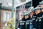 Trek-Segafredo Women at sign on before the start of the 2019 Liège-Bastogne-Liège Femmes, running 138.5km from Bastogne to Liege, Belgium. 28th April 2019<br /> Picture: ASO/Thomas Maheux | Cyclefile<br /> All photos usage must carry mandatory copyright credit (© Cyclefile | ASO/Thomas Maheux)