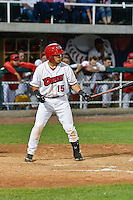Keinner Pina (15) of the Orem Owlz at bat against the Billings Mustangs in Game 2 of the Pioneer League Championship at Home of the Owlz on September 16, 2016 in Orem, Utah. Orem defeated Billings 3-2 and are the 2016 Pioneer League Champions.(Stephen Smith/Four Seam Images)