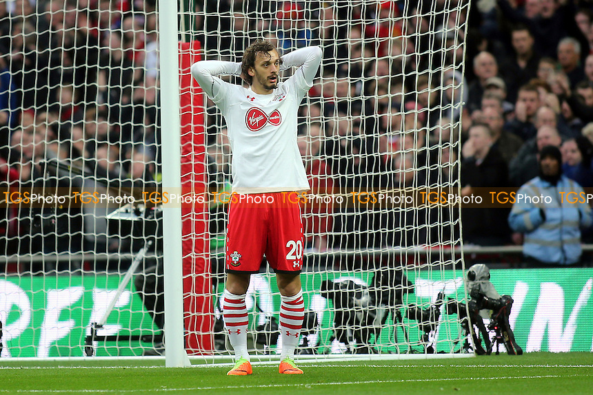 Southampton's Manolo Gabbiadini can't believe his luck after his first half goal was mistakenly ruled out for offside by the Assistant Referee during Manchester United vs Southampton, EFL Cup Final Football at Wembley Stadium on 26th February 2017