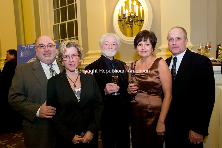 WATERBURY, CT-08 NOVEMBER 2010-010811S22--Tony and Pamela Casagrande of Wolcott, Spencer Parrish, center, and Kathleen and Dan McNamara at the  City Hall Gala held at the newly restored Waterbury City Hall. <br />  Jim Shannon Republican-American