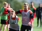 Louis Reed of Sheffield Utd and Harry Chapman of Sheffield Utd during the Sheffield Utd training session at the Shirecliffe Training Complex , Sheffield. Picture date: September 29th, 2016. Pic Simon Bellis/Sportimage