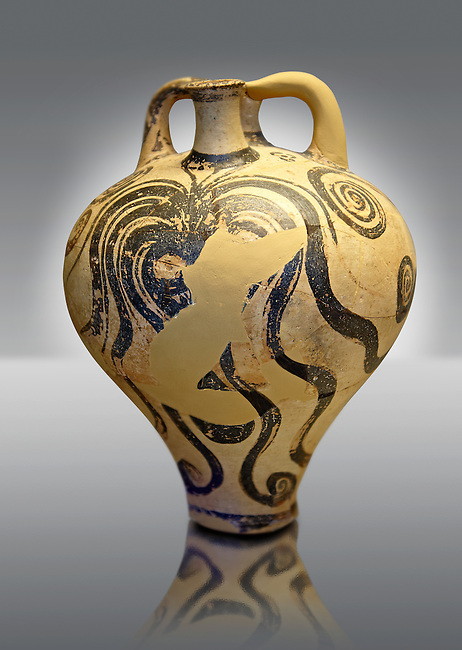 "Photo of a Three handles ""Palace Style"" amphora with three large octopuses within a marines cape of rocks and seaweed. A mycenaean copy of a Minoan Marine Style.   Mycenae tomb 2, Greece. 15th century BC,  cat no: 6725, National Archaeological Museum, Athens."