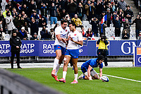 9th February 20020, Stade de France, Paris, France; 6-Nations international mens rugby union, France versus Italy;  The French team celebrates the scoring of a try by Teddy Thomas ( France )