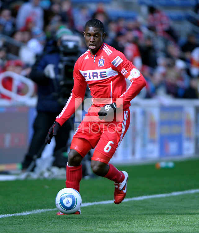 Chicago Fire defender Jalil Anibaba (6) dribbles the ball.  The Chicago Fire defeated Sporting KC 3-2 at Toyota Park in Bridgeview, IL on March 27, 2011.