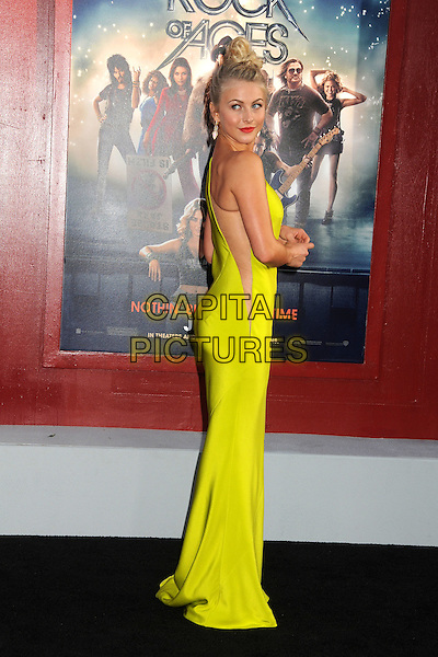 "Julianne Hough.""Rock of Ages"" Los Angeles Premiere held at Grauman's Chinese Theatre,  Hollywood, California, USA,.8th June 2012..full length neon yellow one shoulder dress fluorescent slash green back side over shoulder flesh mesh hair up top knot bun long maxi bum ass .CAP/ADM/BP.©Byron Purvis/AdMedia/Capital Pictures."