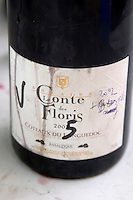 Cuvee Basaltique 2005 in a sampling bottle. Domaine Le Conte des Floris, Caux. Pezenas region. Languedoc. France. Europe. Bottle.