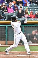 John Hester (22) of the Salt Lake Bees at bat against the Sacramento River Cats at Smith's Ballpark on April 3, 2014 in Salt Lake City, Utah.  (Stephen Smith/Four Seam Images)