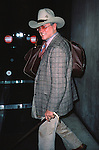 Larry Hagman.Arriving at Kennedy Airport,.New York City.February 1982.