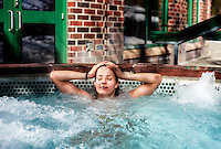 Pro snowboarder Silvia Mittermuerller exercising at a swimming pool in Breckenridge, Colorado, Wednesday March 21, 2012...Photo by Matt Nager