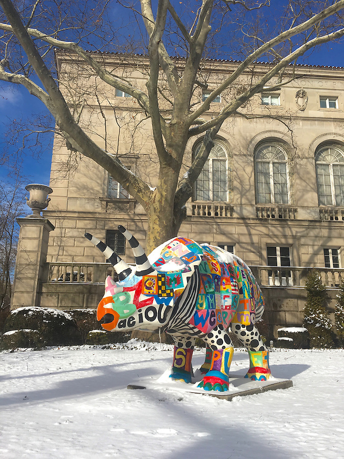 Oakland, Pittsburgh, Carnegie Mellon, fantasy painted rhino
