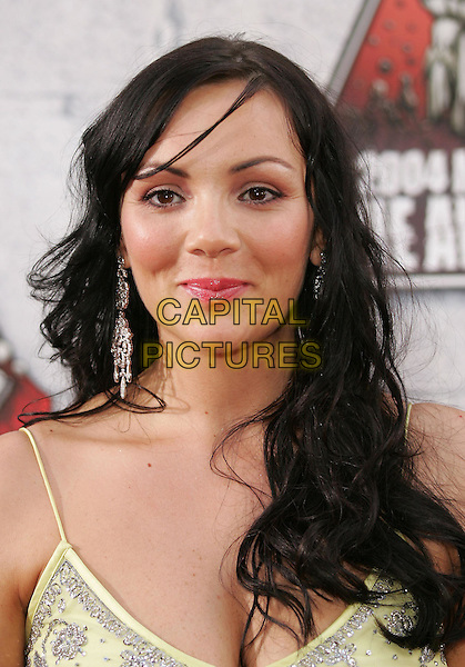 MARTINE McCUTCHEON.at the 2004 MTV Movie Awards held at The Sony Picture Studios in Culver City, .California,.June 6th 2004.half length half-length yellow beaded dress log big silver earings.*UK sales only*.www.capitalpictures.com.sales@capitalpictures.com.©Capital Pictures