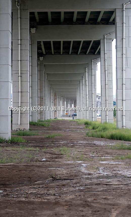 Under a freeway