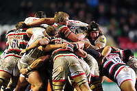 Forwards compete at a maul. Aviva Premiership match, between Leicester Tigers and Exeter Chiefs on March 3, 2017 at Welford Road in Leicester, England. Photo by: Patrick Khachfe / JMP