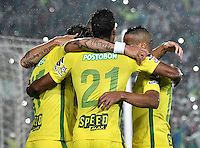 BOGOTA - COLOMBIA -25-02-2017: Los jugadores de Atletico Nacional, celebran el gol anotado a La Equidad, durante partido entre La Equidad y Atletico Nacional, por la fecha 5 de la Liga Aguila I-2017, jugado en el estadio Nemesio Camacho El Campin de la ciudad de Bogota. / The players of Atletico Nacional, celebrates a scored goal to La Equidad, during a match between La Equidad and Atletico Nacional, for the  date 5 of the Liga Aguila I-2017 at the Nemesio Camacho El Campin Stadium in Bogota city, Photo: VizzorImage  / Luis Ramirez / Staff.