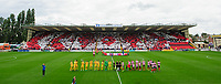 Lincoln City manager Danny Cowley, left, waves to the crowd as the two teams line up in front of a backdrop of a display by fans in the Lincolnshire Co-operative Stand <br /> <br /> Photographer Chris Vaughan/CameraSport<br /> <br /> The EFL Sky Bet League Two - Lincoln City v Morecambe - Saturday August 12th 2017 - Sincil Bank - Lincoln<br /> <br /> World Copyright &copy; 2017 CameraSport. All rights reserved. 43 Linden Ave. Countesthorpe. Leicester. England. LE8 5PG - Tel: +44 (0) 116 277 4147 - admin@camerasport.com - www.camerasport.com