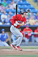 Lakewood BlueClaws center fielder Mickey Moniak (22) swings at a pitch during a game against the Asheville Tourists at McCormick Field on June 2, 2017 in Asheville, North Carolina. The Tourists defeated the BlueClaws 7-5. (Tony Farlow/Four Seam Images)