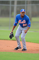 GCL Mets first baseman Dominic Smith (22) during practice before the first game of a double header against the GCL Cardinals on July 17, 2013 at Roger Dean Complex in Jupiter, Florida.  GCL Cardinals defeated the GCL Mets 6-5 in twelve innings.  (Mike Janes/Four Seam Images)