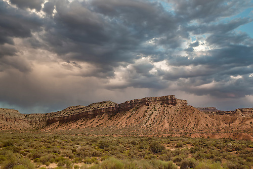 Storm clouds hover over Gooseberry Mesa near Zion National Park, Utah
