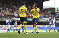 Blackburn Rovers' Danny Graham and Blackburn Rovers' Derrick Williams celebrates there sides second goal<br /> <br /> Photographer Rachel Holborn/CameraSport<br /> <br /> The EFL Sky Bet Championship - Ipswich Town v Blackburn Rovers - Saturday 4th August 2018 - Portman Road - Ipswich<br /> <br /> World Copyright &copy; 2018 CameraSport. All rights reserved. 43 Linden Ave. Countesthorpe. Leicester. England. LE8 5PG - Tel: +44 (0) 116 277 4147 - admin@camerasport.com - www.camerasport.com