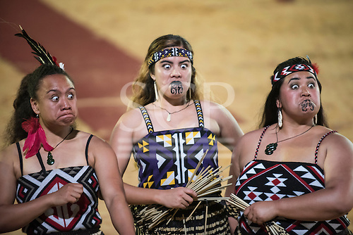 Three Maori women from New Zealand demonstrate the Maori concept of beauty at the International Indigenous Games, in the city of Palmas, Tocantins State, Brazil. Photo © Sue Cunningham, pictures@scphotographic.com 24th October 2015