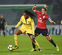 2018013 - LILLE , FRANCE : LOSC's Maus Coutereels (R) and PSG's Marie Antoinette Katoto (L) pictured during the women soccer game between the women teams of Lille OSC and Paris Saint Germain  during the 13 th matchday for the Championship D1 Feminines at stade Lille Metropole , Saturday 13th of January ,  PHOTO Dirk Vuylsteke | Sportpix.Be