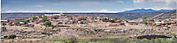 The Pueblo of Laguna, the largest of the Keresan pueblos, is 45 miles west of Albuquerque on Route 66. Its most prominent landmark, the whitewashed St. Joseph Church, is readily visible from the road. The entire pueblo covers four large counties and includes the six villages of Encinal, Laguna, Mesita, Paguate, Paraje, and Seama.Listed in the National Register of Historic Places since 1973, the district consists of approximately 108 acres including a southeastern section of the pueblo that dates from the 1400s and a larger section established in 1699.