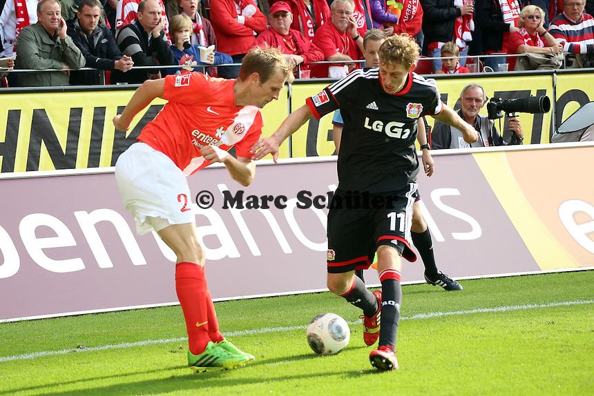 Bo Svensson (Mainz) gegen Stefan Kießling (Bayer) - 1. FSV Mainz 05 vs. Bayer 04 Leverkusen, Coface Arena, 6. Spieltag