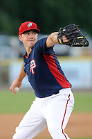 Starting pitcher Taylor Hill (38) of the Potomac Nationals in a game against the Carolina Mudcats on Friday, June 21, 2013, at G. Richard Pfitzner Stadium in Woodbridge, Virginia. Potomac won, 5-1. (Tom Priddy/Four Seam Images)
