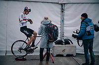 CX World Champion Wout Van Aert (BEL/Cibel-Cebon) warming down on the rollers after the race (near the finish podium)<br /> <br /> CX World Cup Koksijde 2018