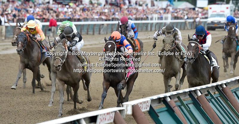 Stopchargingmaria (no. 8), ridden by John Velazquez and trained by Todd Pletcher, wins the 134th running of the grade 1 Alabama Stakes for three year old fillies on August 16, 2014 at Saratoga Race Course in Saratoga Springs, New York.  (Bob Mayberger/Eclipse Sportswire)